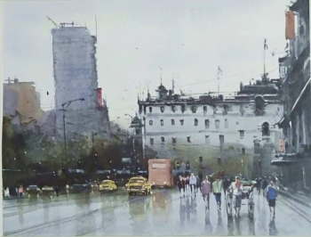 Watercolor on paper painting titled A Rain-soaked Day on Kolkata Streets