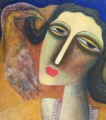 Tempera on canvas board painting titled A Woman in Love I