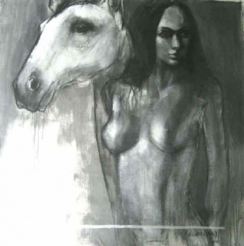 Charcoal & Acrylic on canvas painting titled Companions