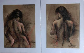 Charcoal on paper painting titled Young nudes I & II