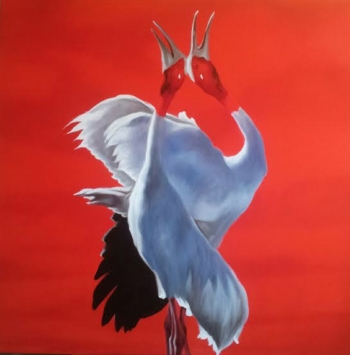 Acrylic on Canvas painting titled An Eternal Love- II