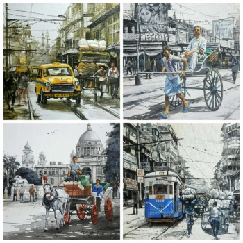 Acrylic on Canvas painting titled Charming Kolkata V - VIII