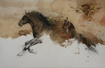Mixed Media on paper painting titled Stallions in Action I