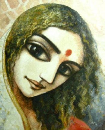 Acrylic on Canvas painting titled The Doe-eyed Beauty
