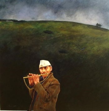 Acrylic on Canvas painting titled Man with the golden flute