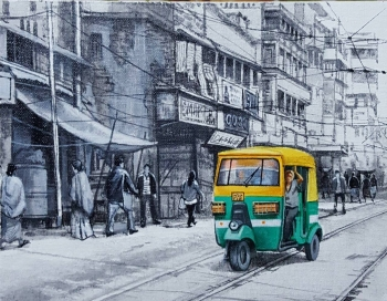 Acrylic on Canvas painting titled Charming Kolkata I