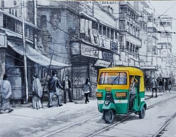 Acrylic on Canvas painting titled Charming Kolkata I