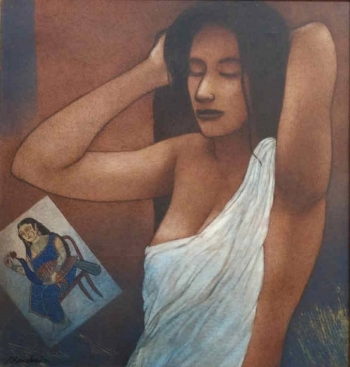 Acryllic on Canvas painting titled After the Bath