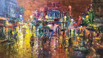 Acrylic on Canvas painting titled An Illuminated Indian Street in Monsoons