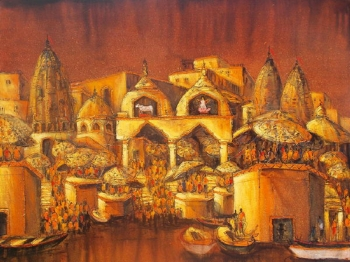 Acrylic on Canvas painting titled Ghats of Golden Light II