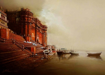 Oil and arcylic painting titled On the banks of ganges