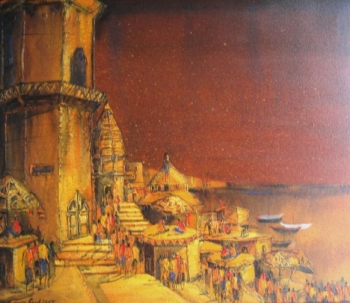 Acrylic on canvas painting titled Golden Ghats