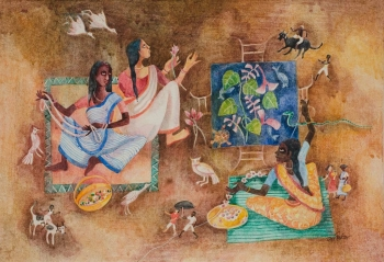 Watercolour on Paper painting titled Village Women stringing Flowers