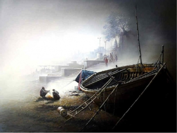 Oil & Acrylic on Canvas painting titled A Winter Morning at the Benares Ghats