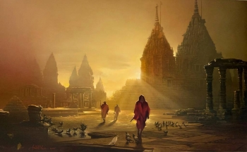 Oil & Acrylic on Canvas painting titled Sublime Sunlight at the Varanasi Courtyard