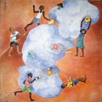 Watercolor on Canvas painting titled The Joy of Kite Flying