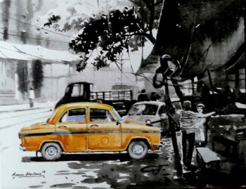 Acrylic on Canvas painting titled Glorious Kolkata I