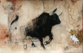 Mixed Media on paper painting titled A Magnificent Bull - I