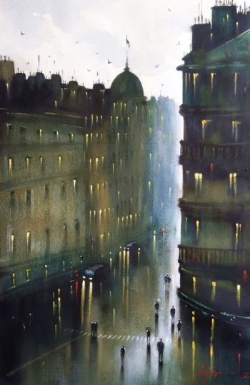 Watercolour on paper painting titled A Rainy Day in Kolkata VI