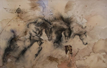 Mixed Media on paper painting titled Stallions in Action - X
