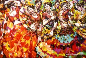 Acrylic on Canvas painting titled The Dance of Joy