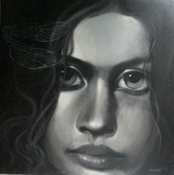 Charcoal & Acrylic on canvas painting titled a delicate beauty