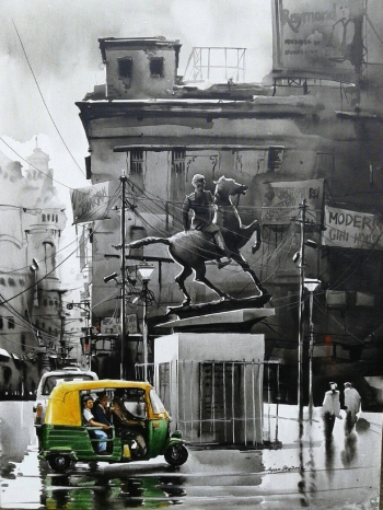 Acrylic on Canvas painting titled A Journey through Kolkata- IV
