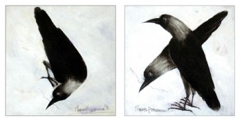 Oil on Plyboard painting titled Crows I & II