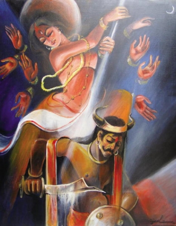 Acryllic on Canvas painting titled Mahishasur Mardini