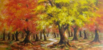 Acrylic on Canvas painting titled The Forest in Autumn