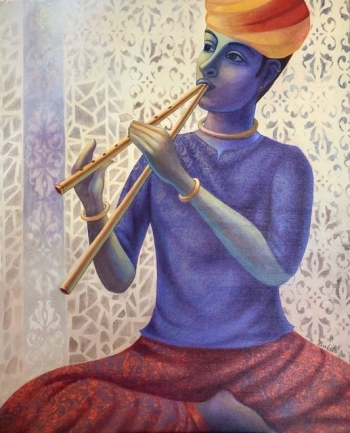 Acrylic on Canvas painting titled Algoza Player