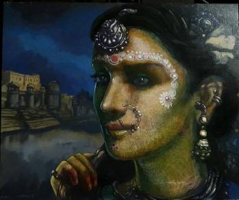 Mixed Media on Canvas painting titled Prateeksha