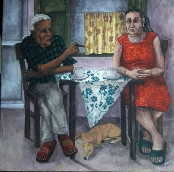 Tempera on Rice- papered Canvas painting titled Over a Coffee with the Beloved