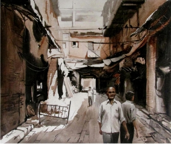 Acrylic on Canvas painting titled The Fascinating Streets of India V