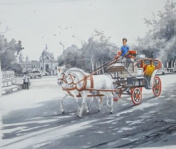 Acrylic on Canvas painting titled Kolkata Nostalgia - IV