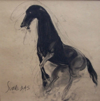 Charcoal on Paper painting titled Horse