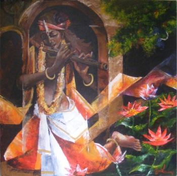 Acrylic on Canvas painting titled His Mesmerising Melody