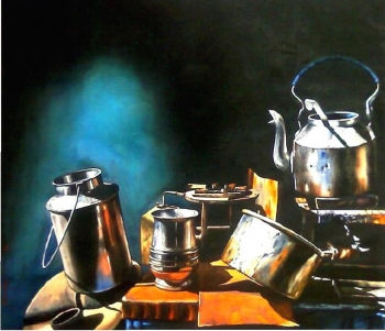 Watercolour on paper painting titled Still life with Pans II