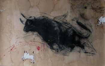 Mixed Media on paper painting titled A Magnificent Bull - II