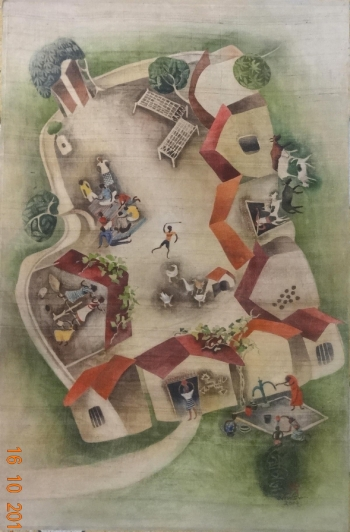 Watercolor on paper painting titled The village square