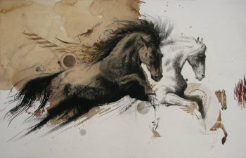 Mixed Media on paper painting titled Stallions in Action III