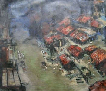 arcylic on canvas painting titled Calcutta cityscape