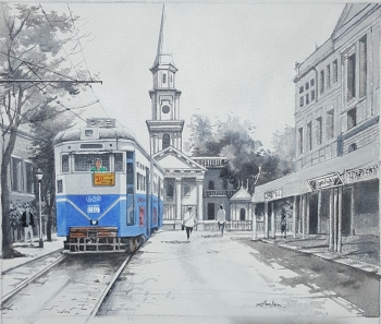 Acrylic on Canvas painting titled Kolkata Nostalgia - I