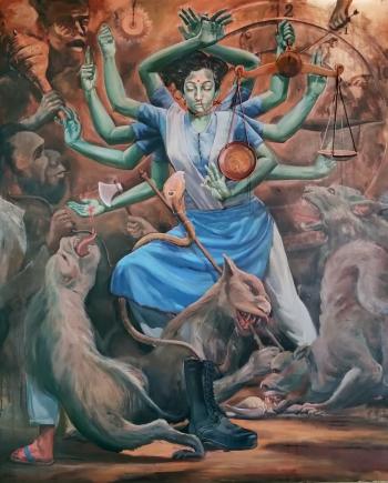 Mixed Media on Canvas painting titled Recreation of femina bellator