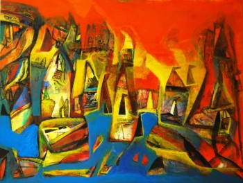 Acrylic on Canvas painting titled Aura of Varanasi- III