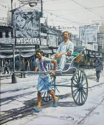 Acrylic on Canvas painting titled Charming Kolkata III