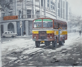Acrylic on Canvas painting titled Kolkata Nostalgia - III