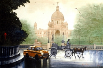 Watercolour on Paper painting titled A Rainy Day in Kolkata- I