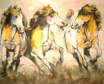 Acrylic on Canvas painting titled Joyful Stallions