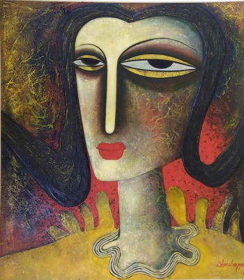 Tempera on canvas board painting titled A Woman in Love IV
